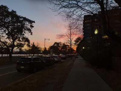 colorful clouds over the sidewalk