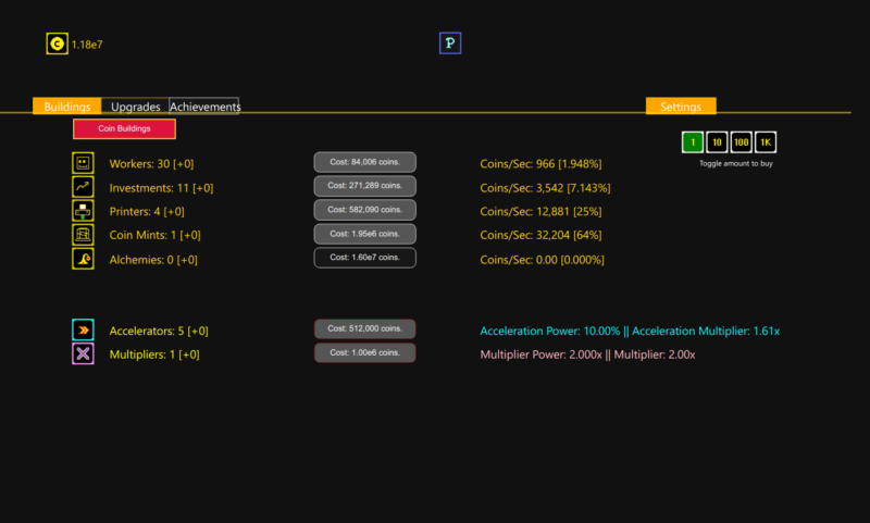 screenshot of synergism. there's 1.16e7 coins, and buttons to buy workers, investments, printers, accelerators, multipliers.