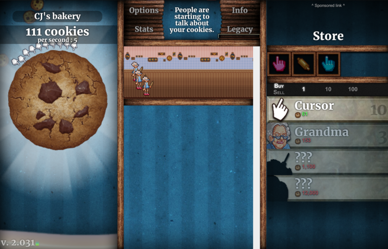 a screenshot of cookie clicker, showing 111 cookies, a huge cookie on the left, three cartoon grandmas in the center, and purchases on the right.