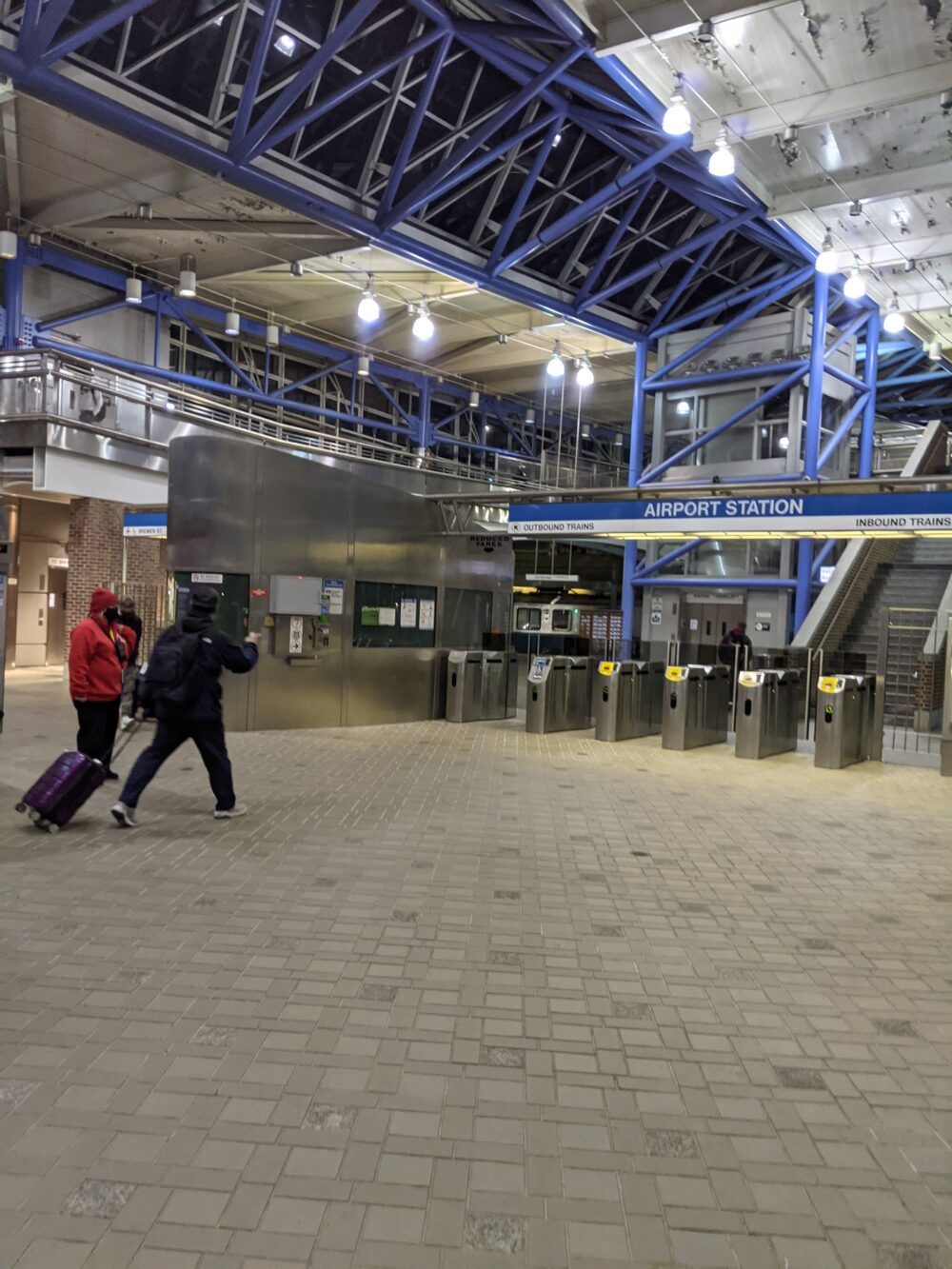 airport station entrance on the blue line