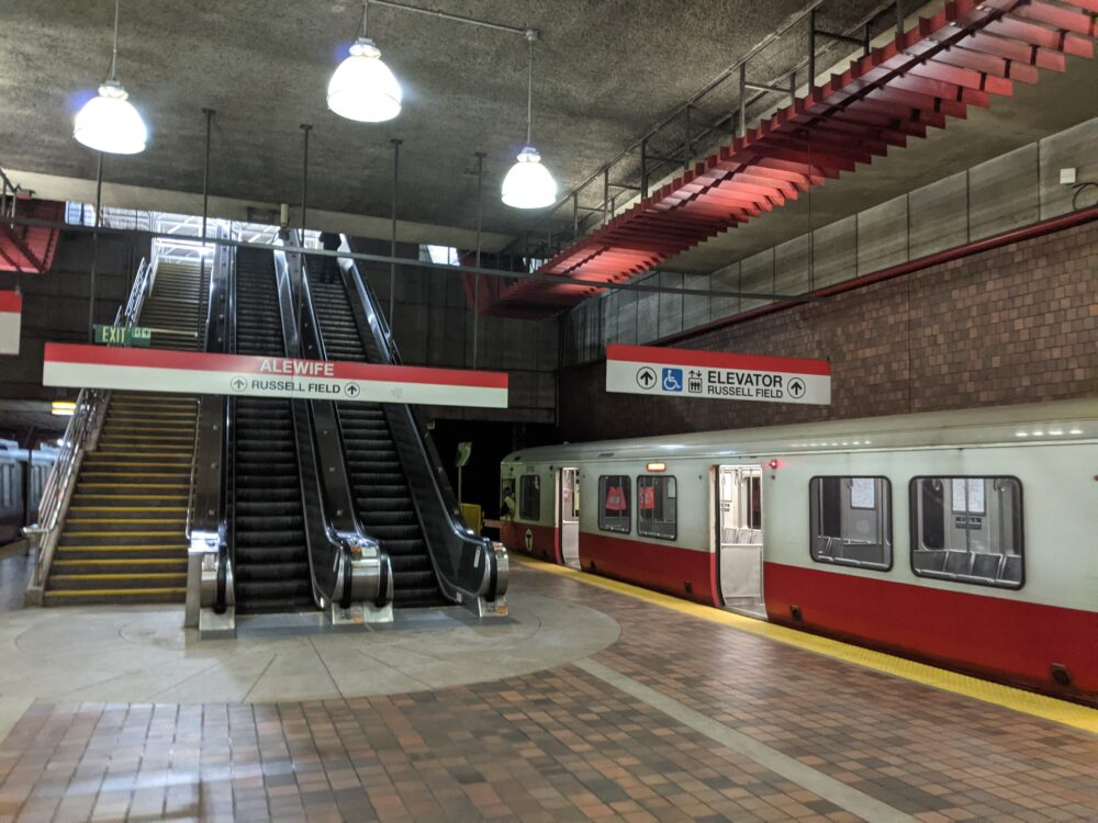off the train at alewife station