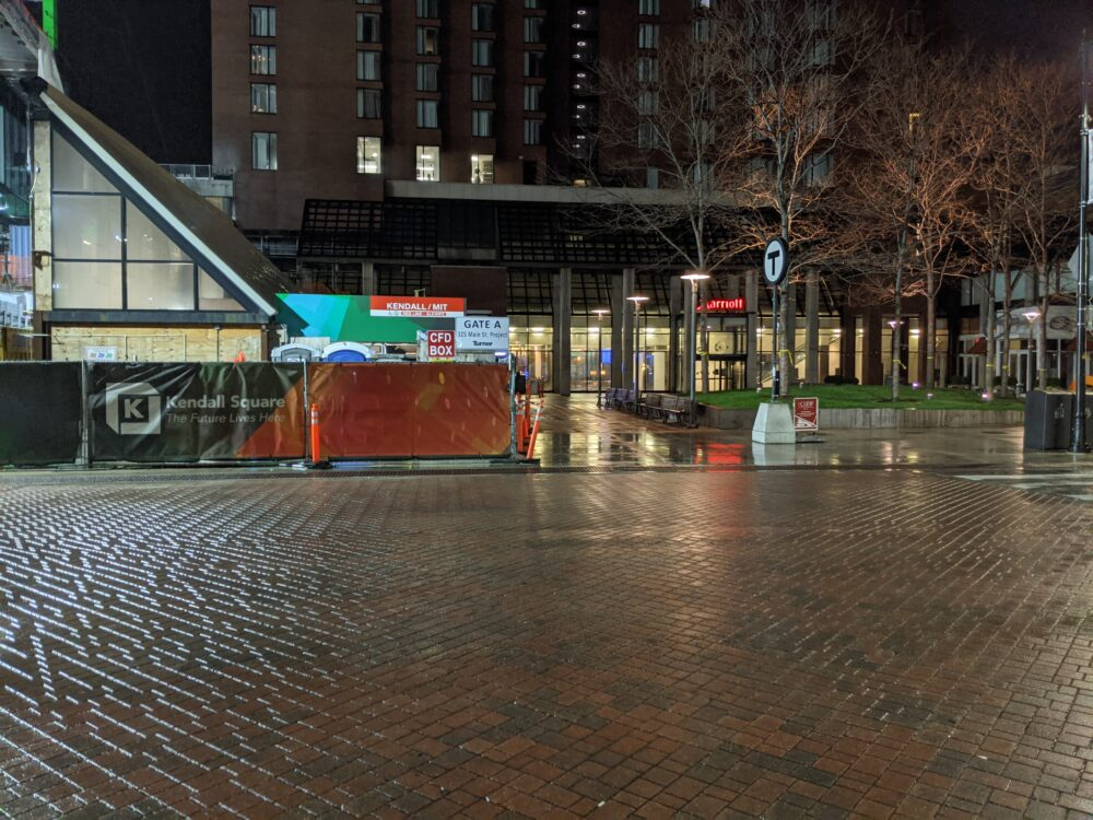 Kendall/MIT station at night