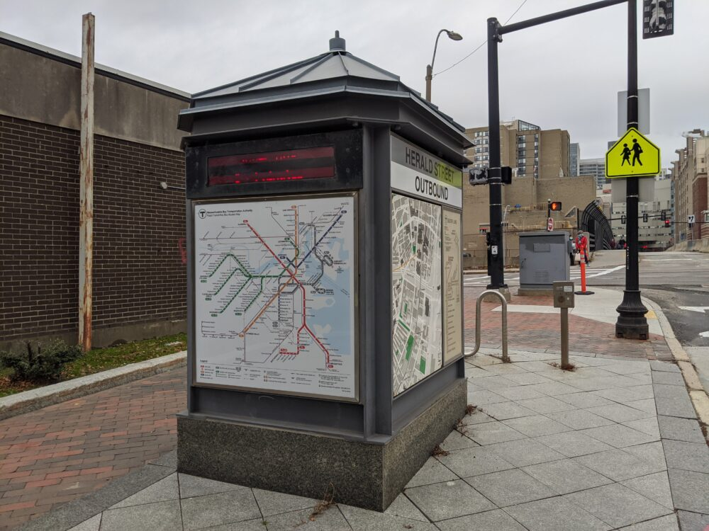 station marker at Herald Street, including a map