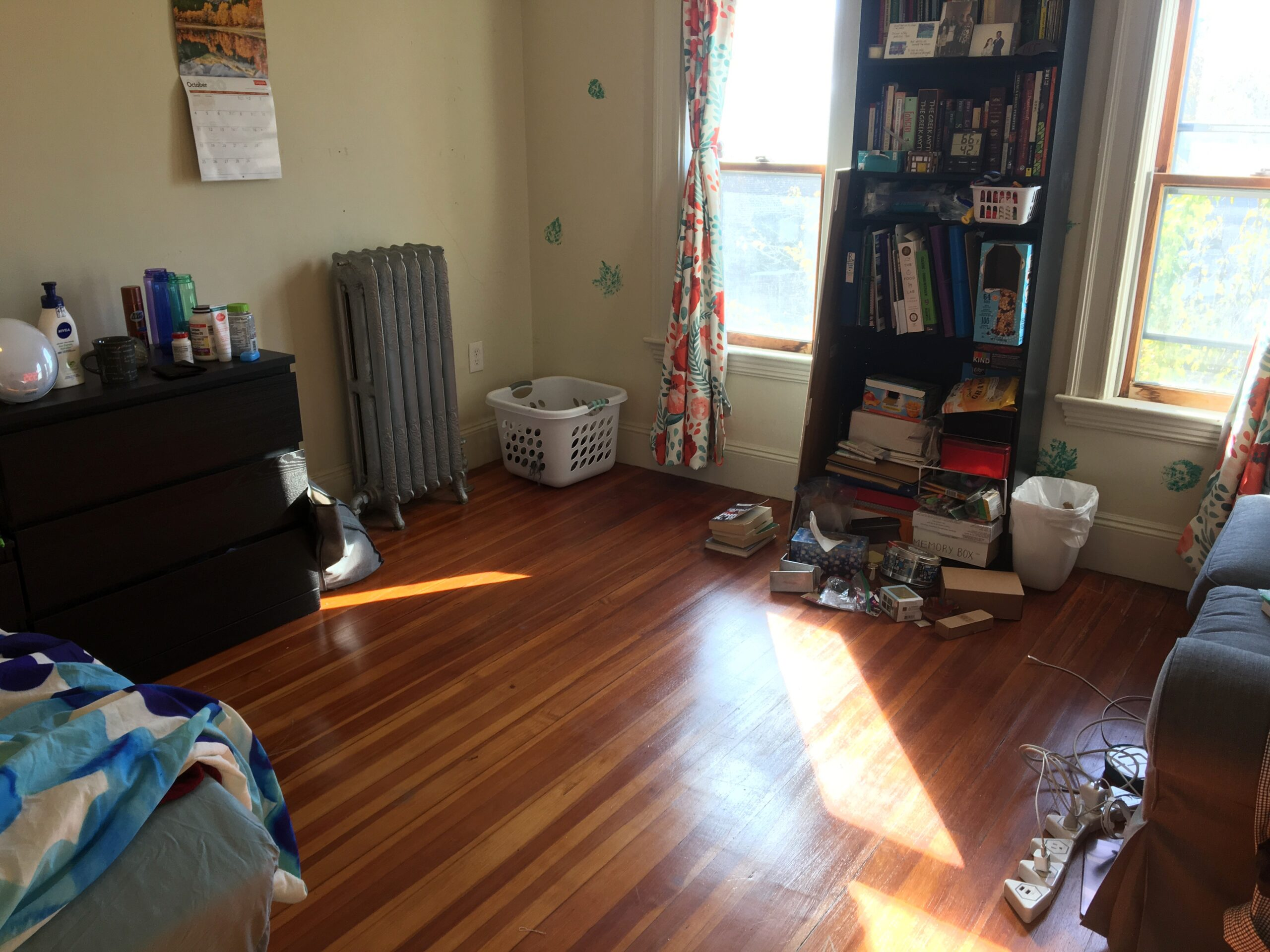 My room. It is pretty clean, a substantial part of the floor is visible, and sunlight is streaming through the windows.
