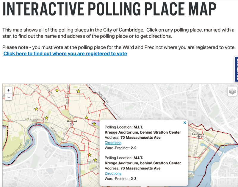a map of cambridge polling locations with the MIT location selected