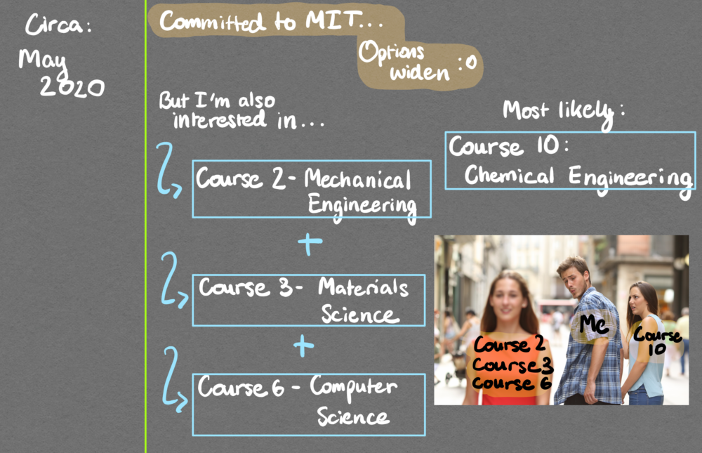 roadmap showing interest in courses 2, 3, 6, 10, featuring a meme of a man looking at a girl with courses 2,3,6 while his girlfriend who is course 10 looks in horror