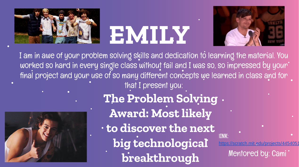 slide for emily awarding her with the problem solving award