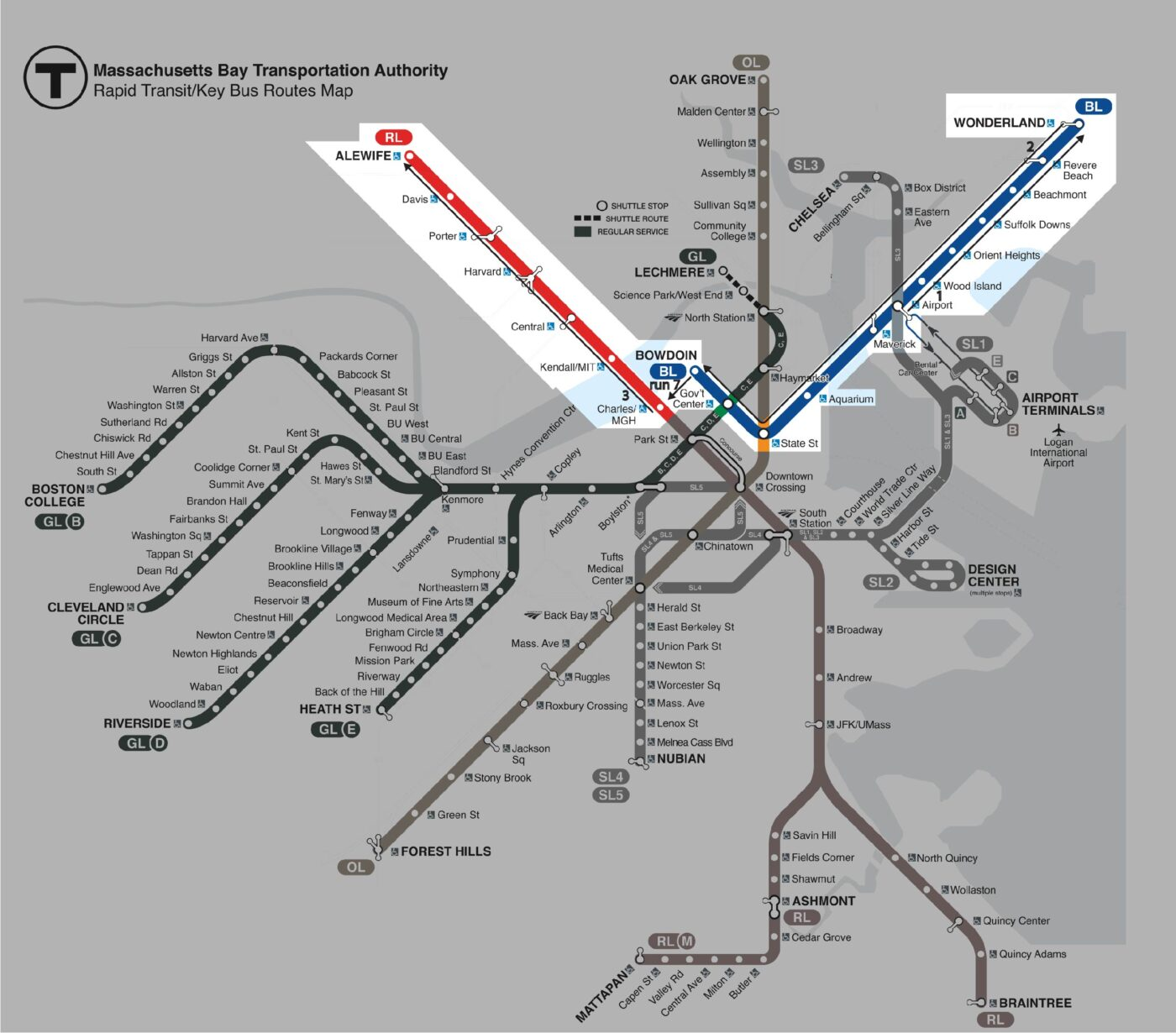 diagram of path for the fifth section, blue line and red line north