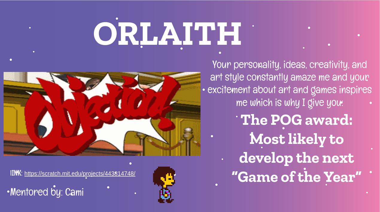 cami's slide for orlaith with a phoenix wright and undertale reference