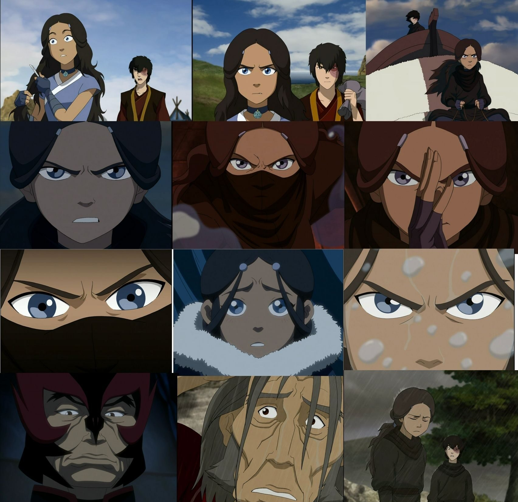 a group of pictures of eyes (mostly katara's)