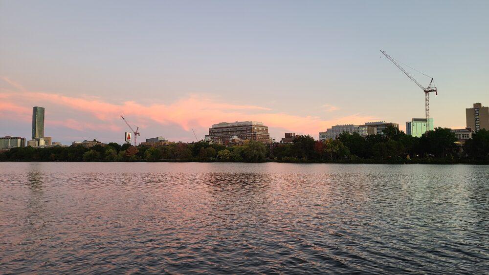 sunset of boston skyline