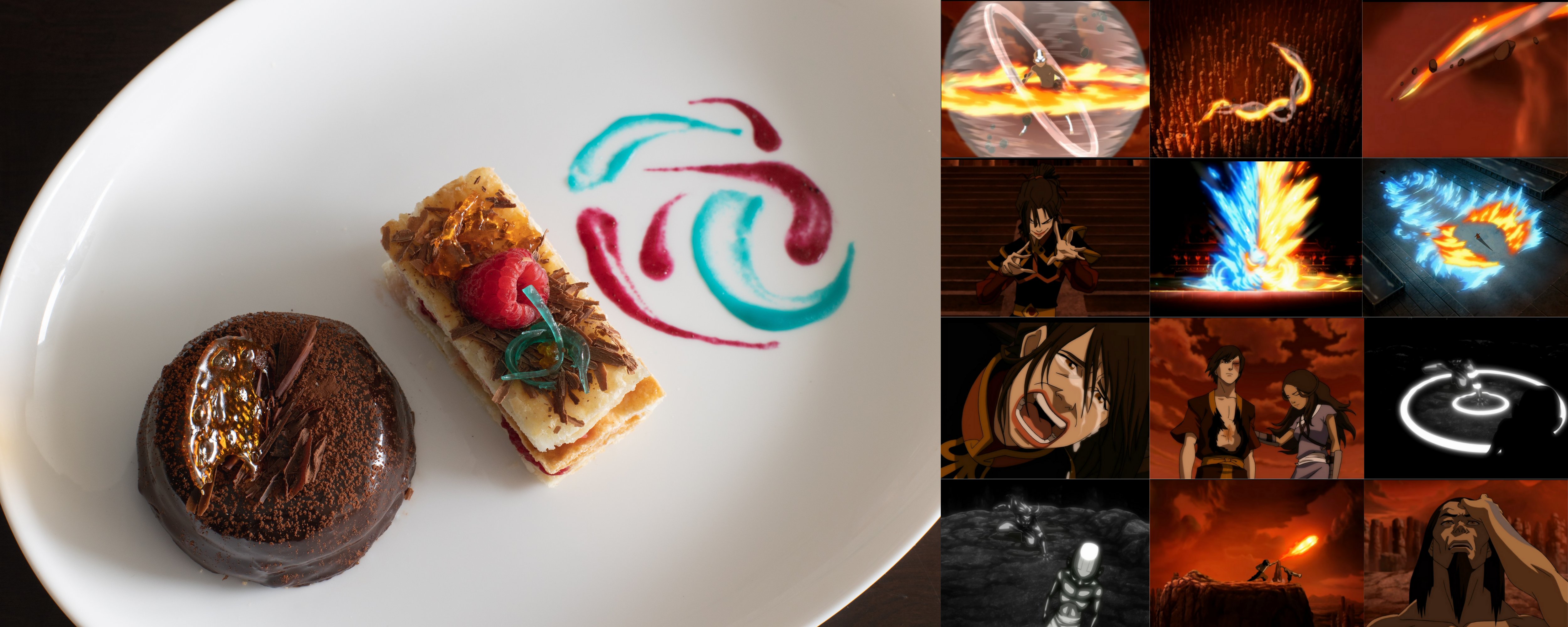 a picture of one of my desserts and scenes from sozins comet