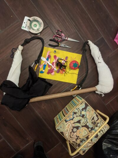 trapeze and supplies: threat, sewing box, pliers, scissors, tape