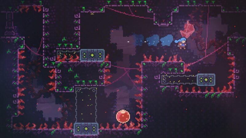 screenshot from celeste. madeline jumps onto a moving platform.