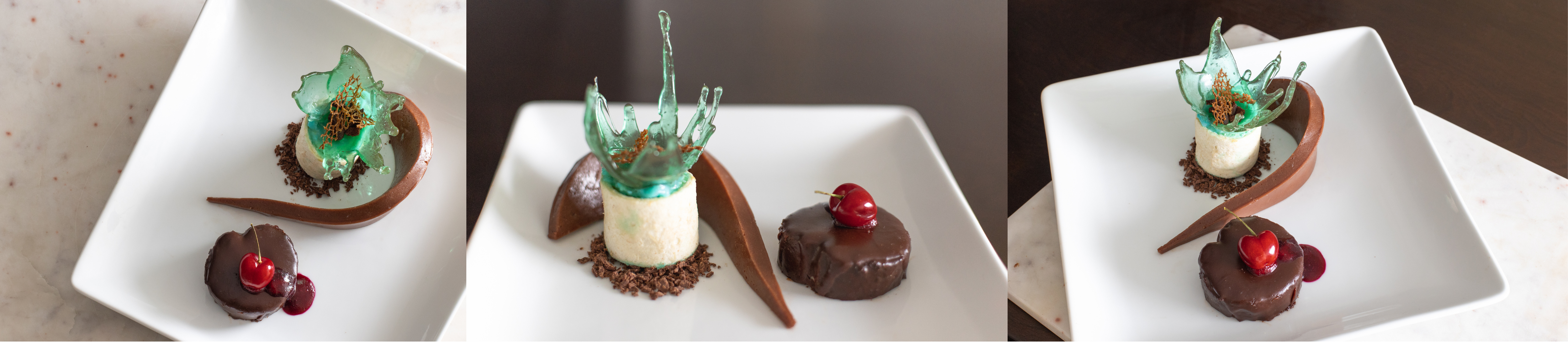 three pictures of one of my desserts