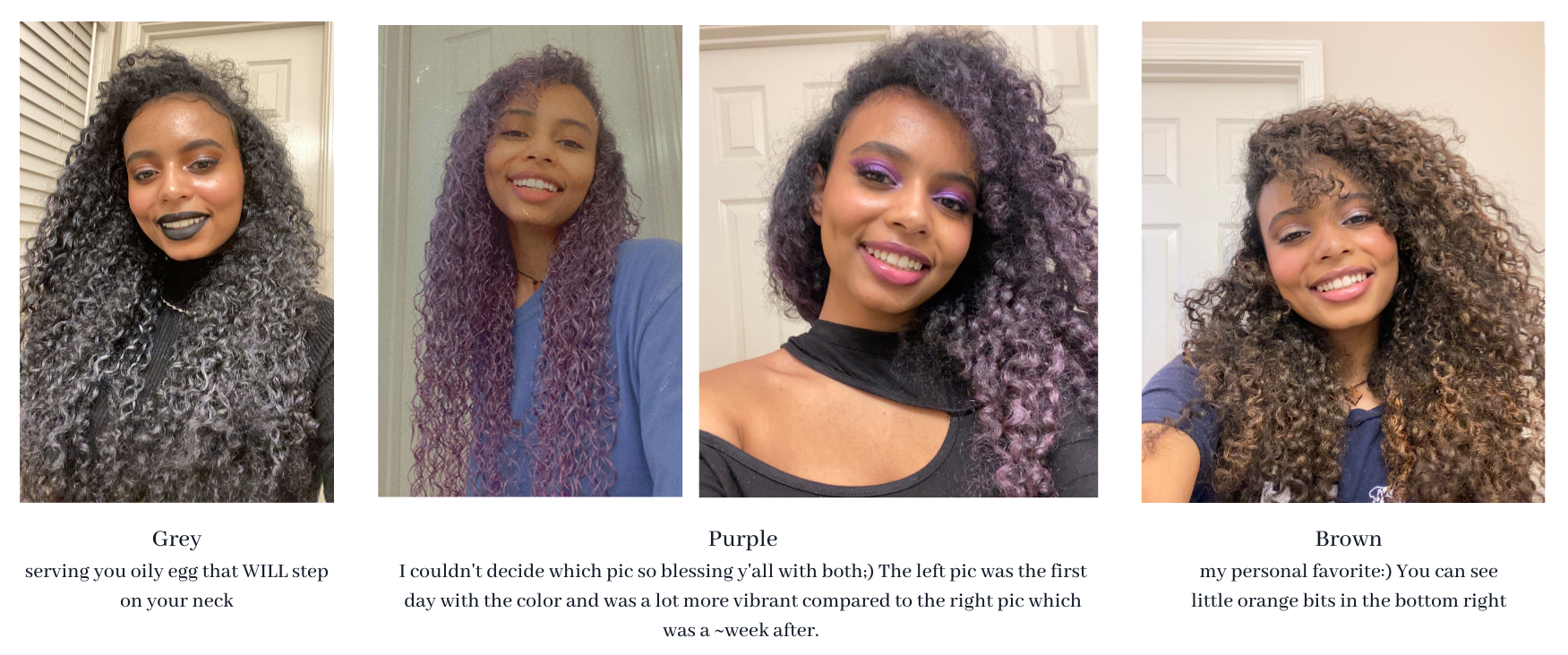 4 pictures of me with different colored hair wax
