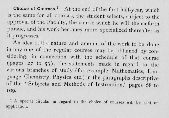 choice of courses