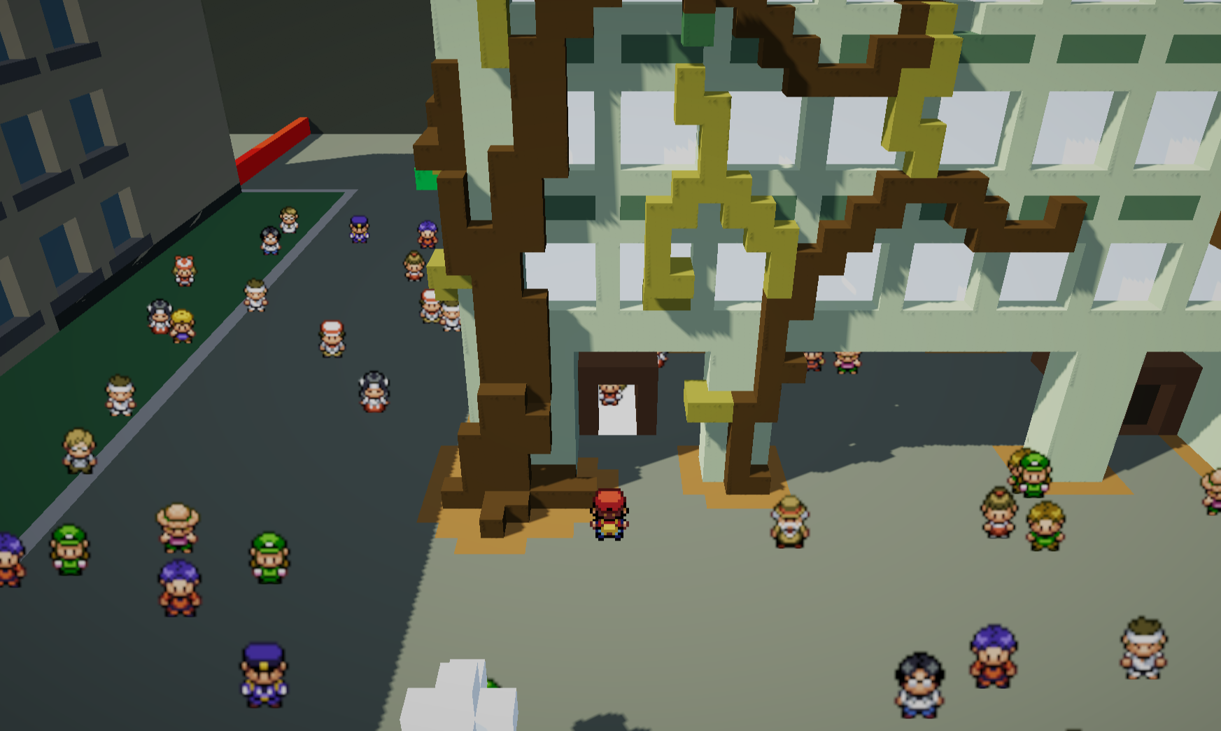 screenshot, green building in pokemon-like demo