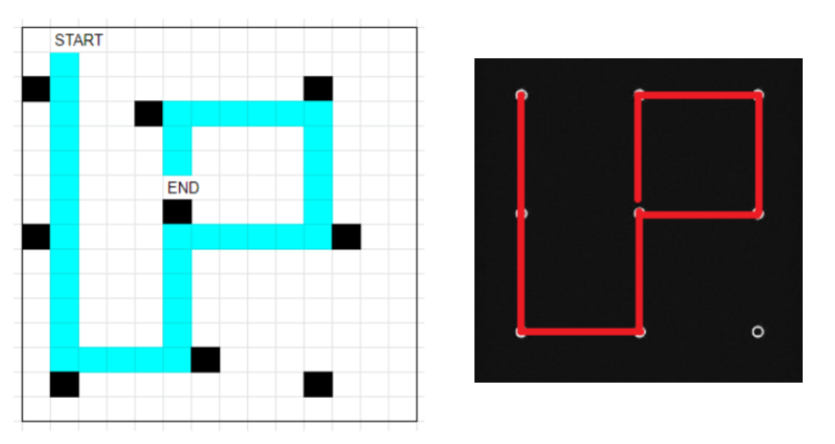 left: ice puzzle solution; right: phone unlock pattern in same pattern