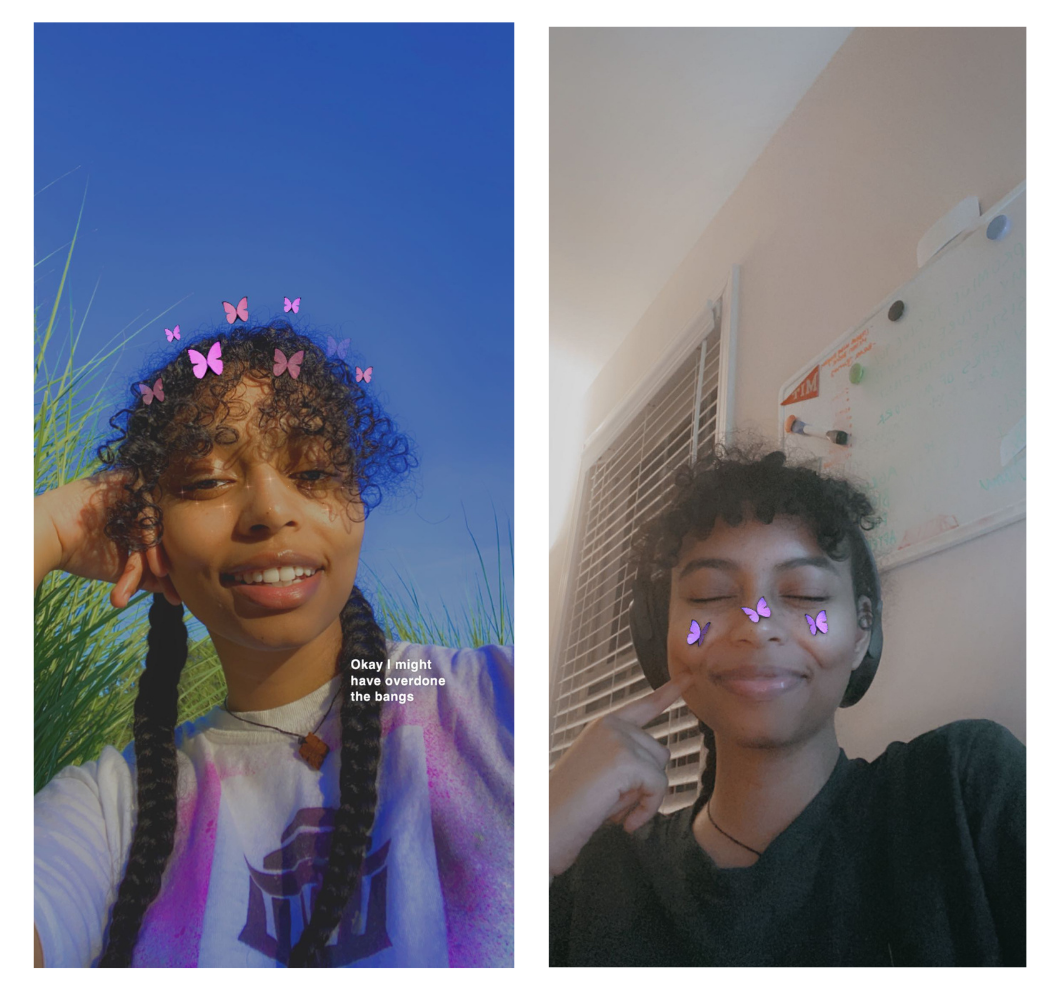 two pics of me with long and short bangs