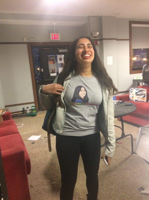 nisha wearing the blogger shirt