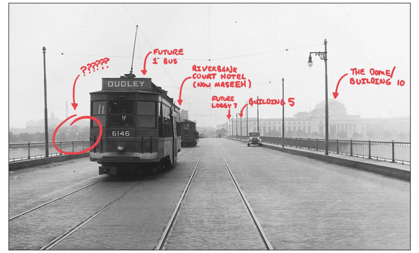 annotated image of streetcar crossing harvard bridge circa 1929