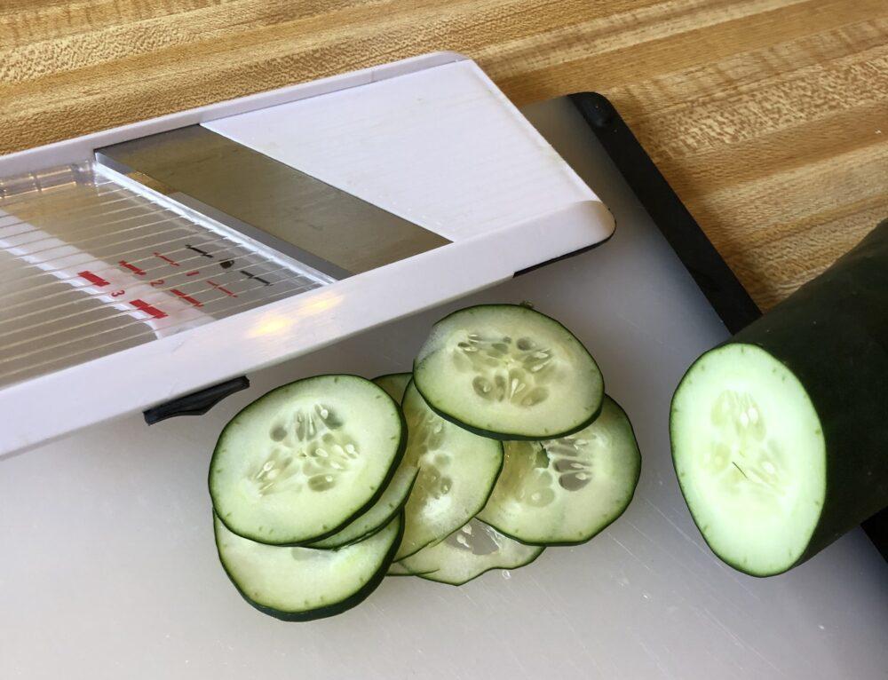 a photo of cucumbers i sliced using the mandoline