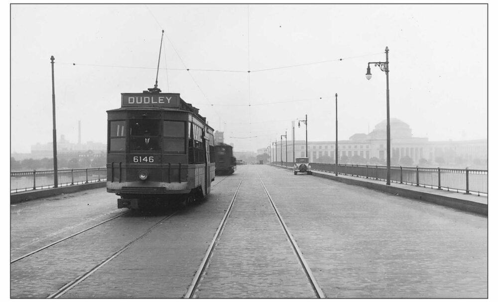 image of streetcar crossing harvard bridge circa 1929