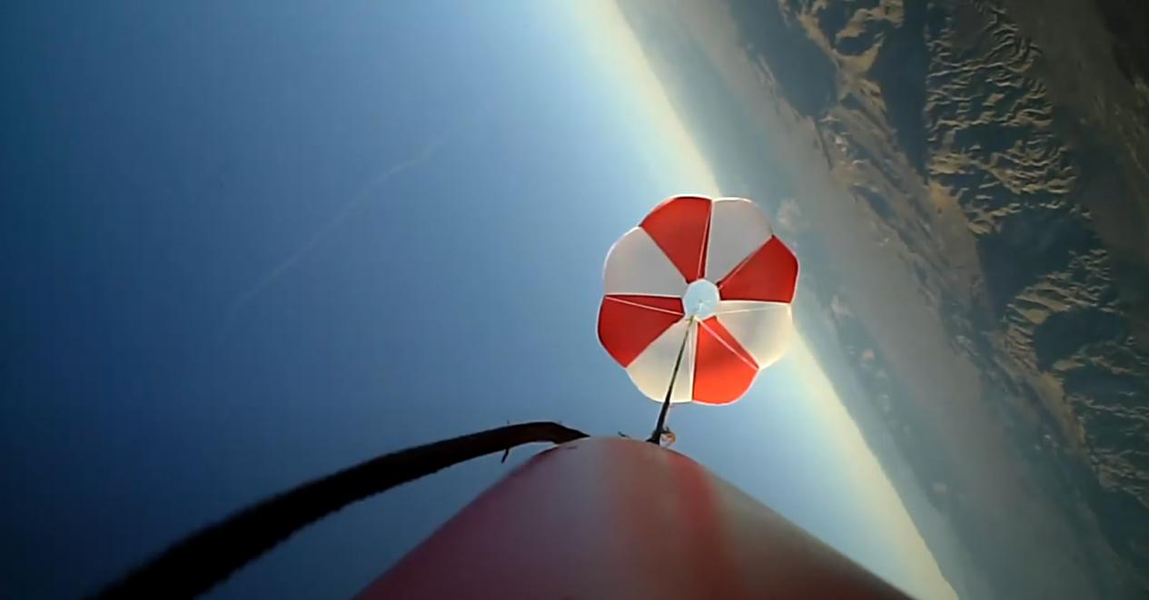 aerial shot of rocket falling to ground