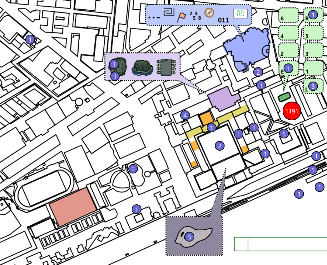 map of mit overlaid with circled numbers of people. 1191 is on the dot