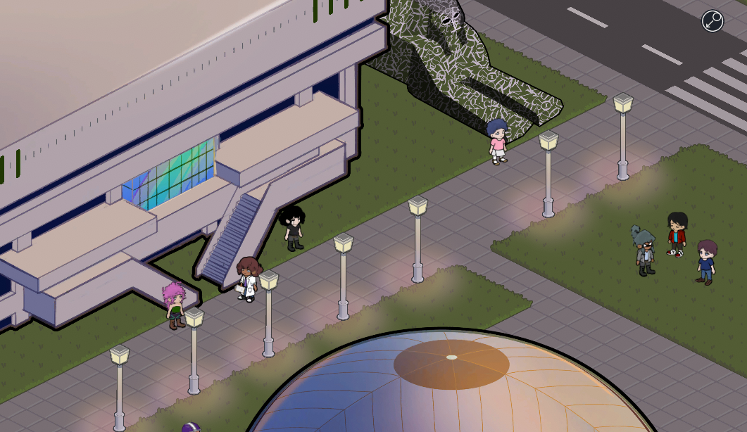 mmo screenshot with lights under lampposts outside student center