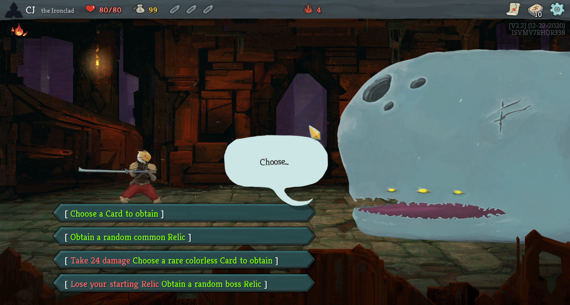 "gameplay screenshot: a space whale saying ""choose..."" and four options like ""choose a rare colorless card to obtain"""