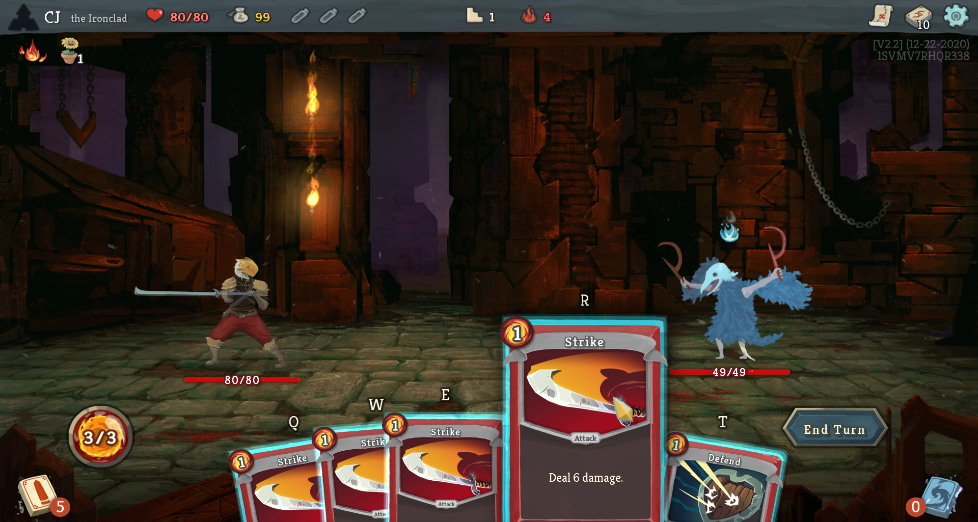 "gameplay screenshot, ""strike deal 6 damage"" is a selected card"