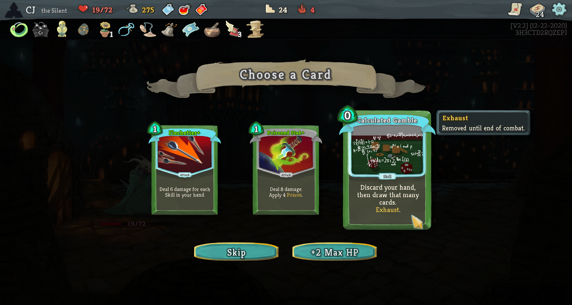 card reward screen, highlighted card is calculated gamble (discard your hand and draw one card for each card discarded)