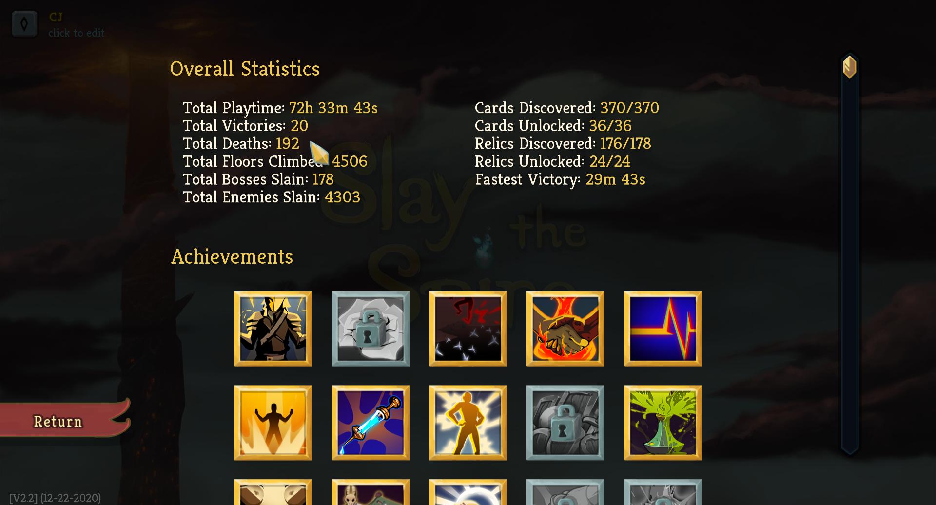 20 total victories, 192 total deaths
