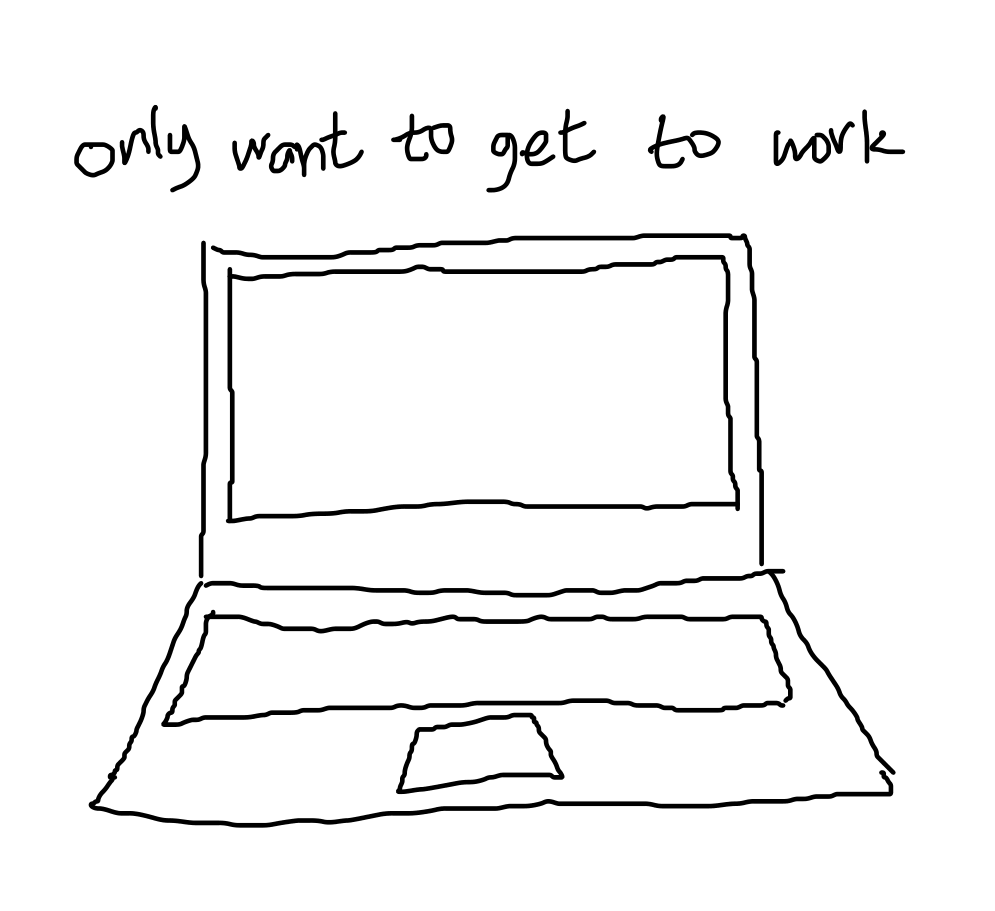 "text ""only want to get to work"" above drawing of laptop"