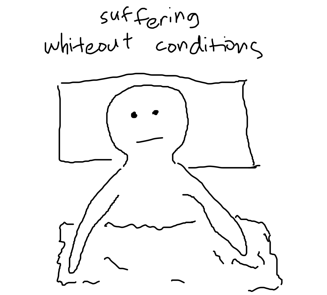 "text: ""suffering whiteout conditions"", over drawing of someone lying on bed, staring up"