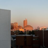 view of the MIT dome at sunset
