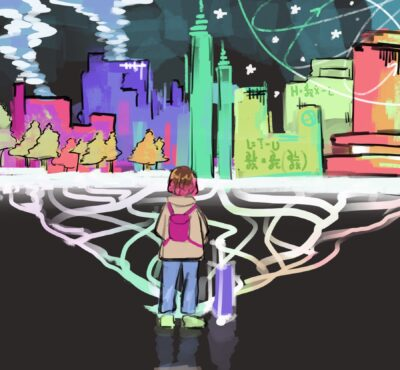 drawing of girl in front of a skyline, with many paths
