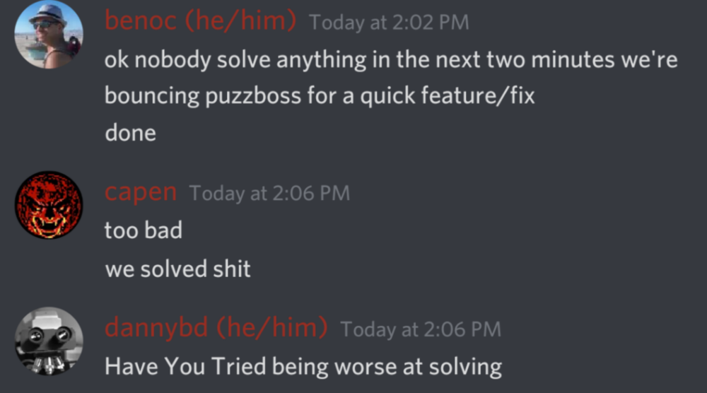team members joking about one of our systems being down