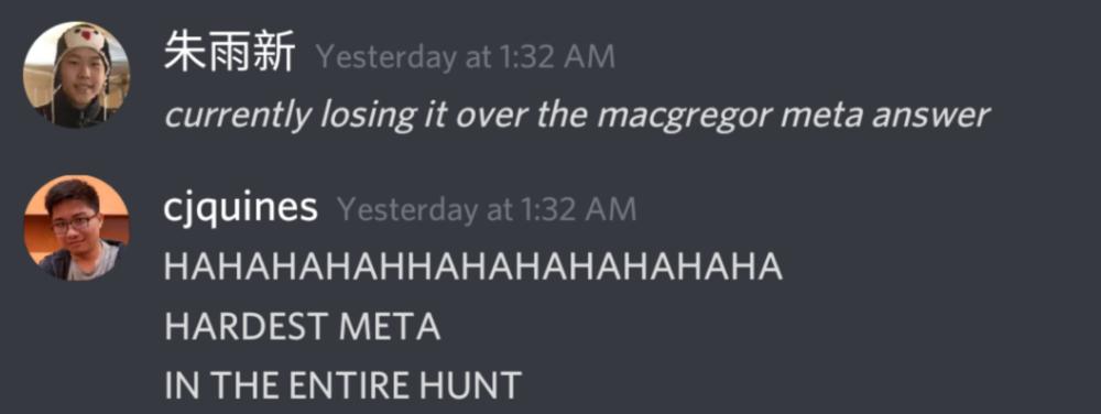 screenshot of alan and CJ joking about the MacGregor meta puzzle