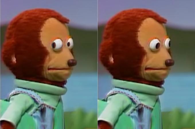monkey puppet awkward look meme