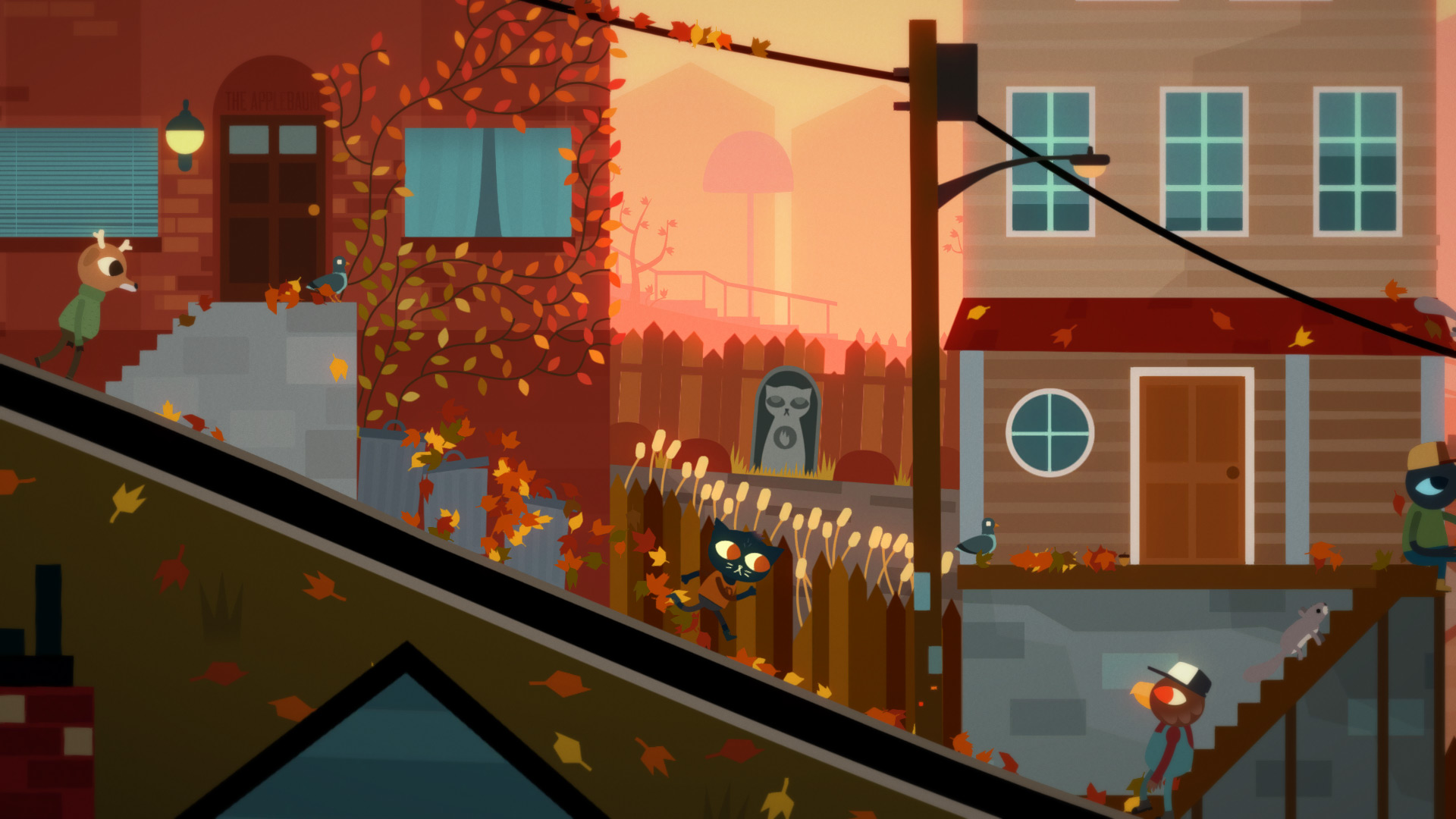 night in the woods screenshot, ame running down a street in beauitful autumn