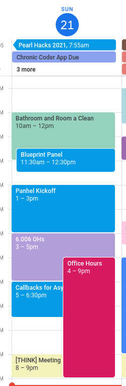 my schedule for feb 21