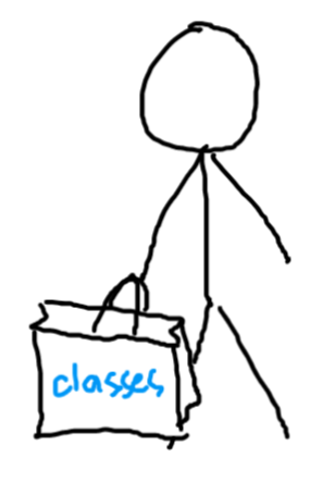person holding shopping bag with classes written on it