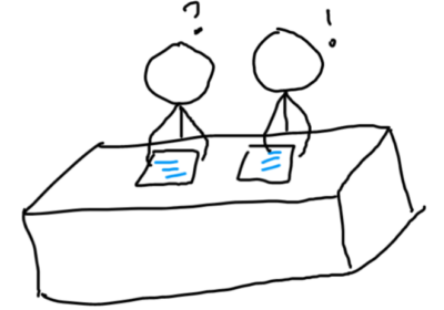 two people holding a document while sitting on a table