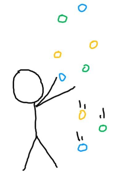 person juggling several balls while some fall to the ground