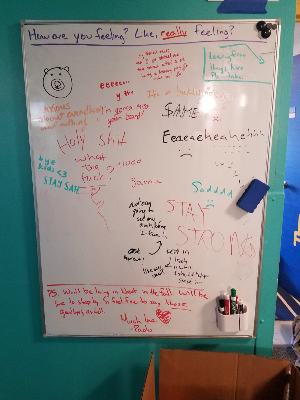whiteboard with many different sad feelings about leaving