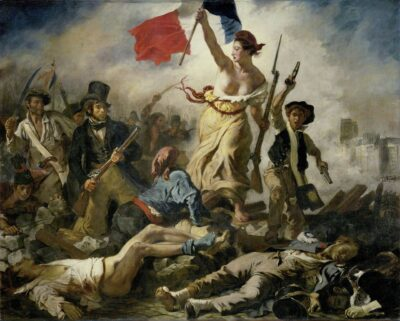 Painting shows a woman holding the French flag and leading a charging mob