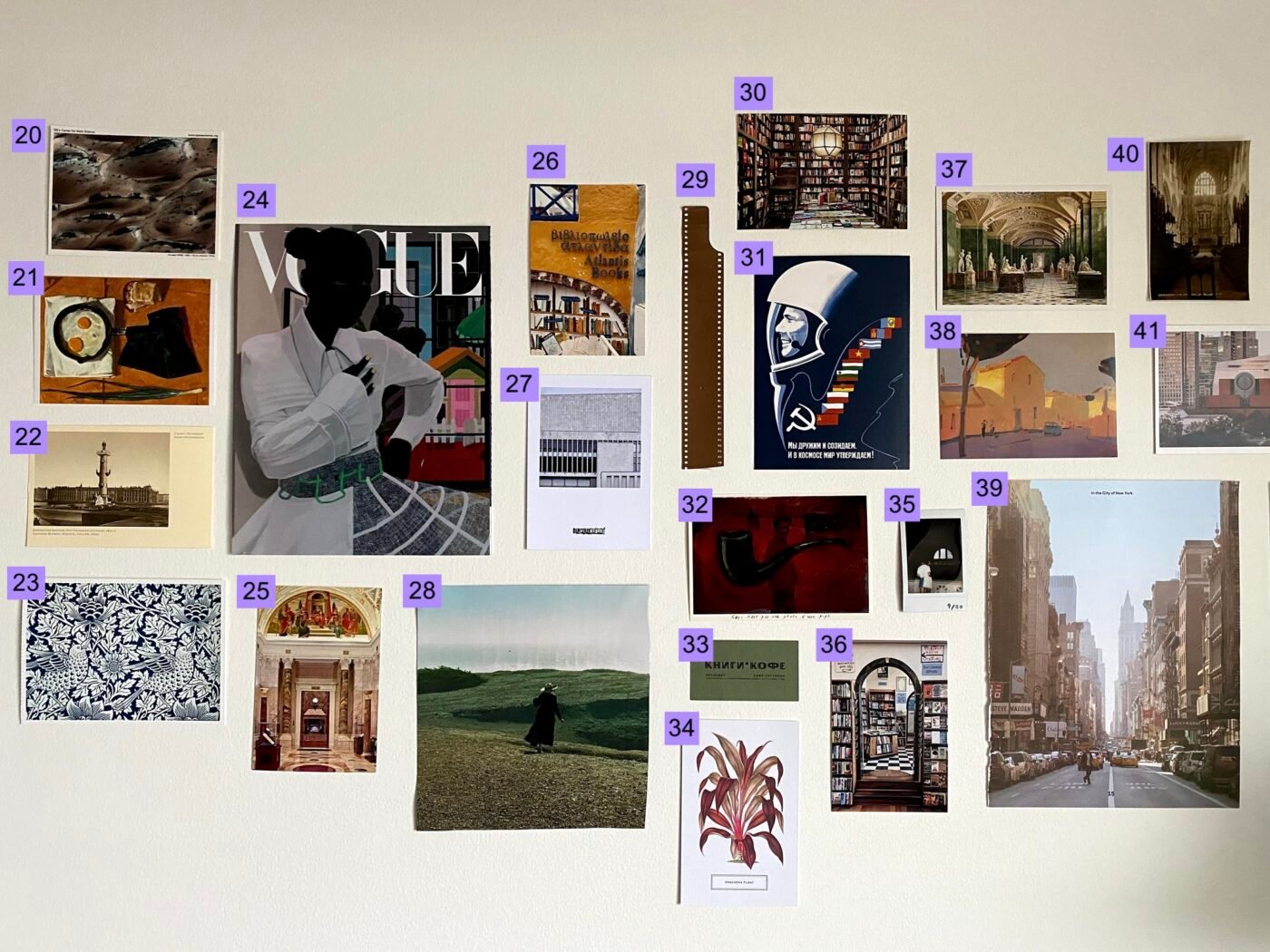 many photos on a wall, labeled with numbers
